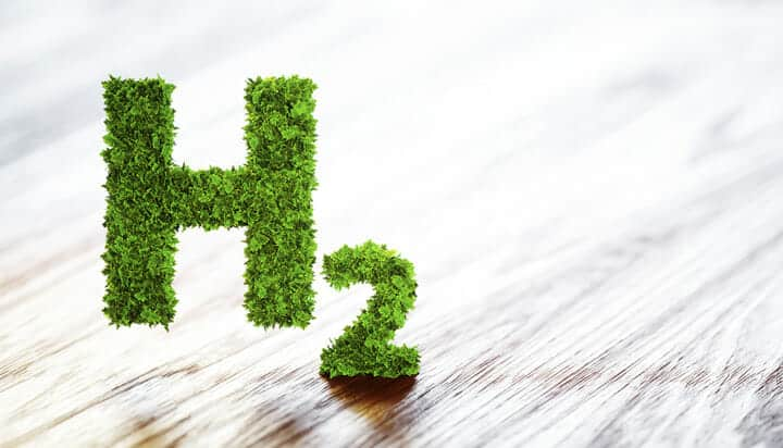Picture of green 3D H2 symbol