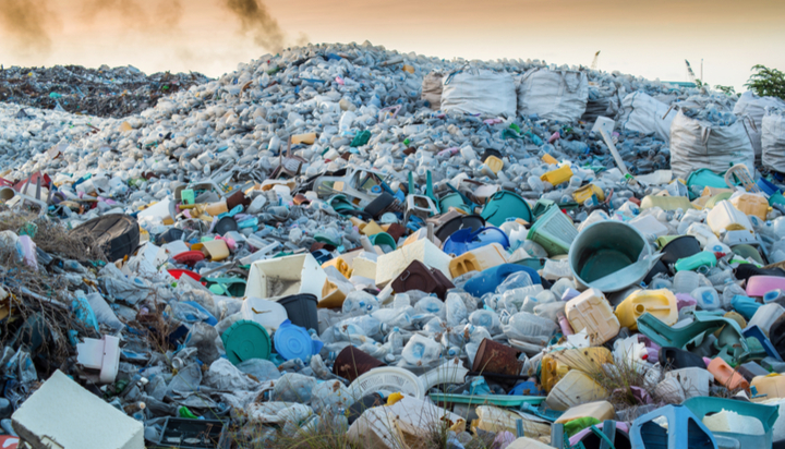 Plastic waste in landfill