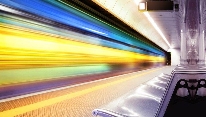 Train passing through station
