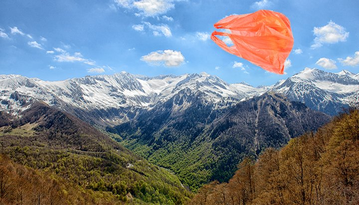 Plastic bag in mountains